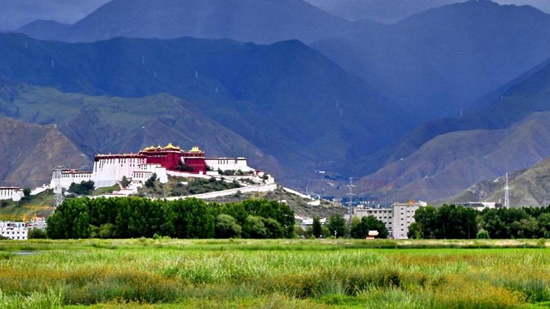 Landschaft des Lhalu-Feuchtgebietes in Lhasa