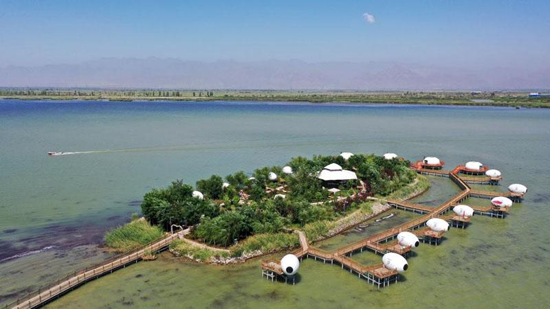 Shahu-See-Landschaftsgebiet aus Vogelperspektive