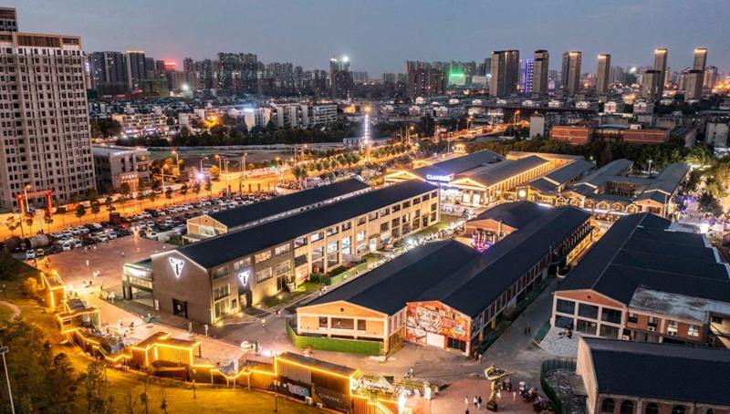 Nachtansicht des Kunstviertels Jangtse-Fluss 180 in Hefei