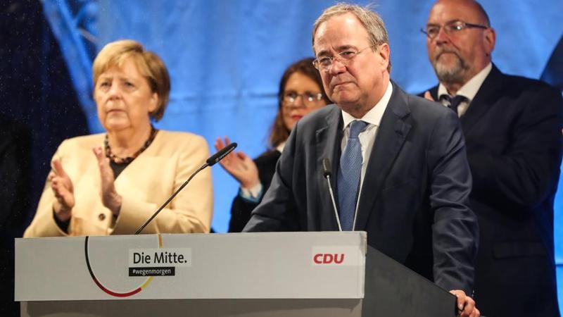 Merkel und Laschet nehmen an Wahlkampfveranstaltung der CDU zur Bundestagswahl in Stralsund teil