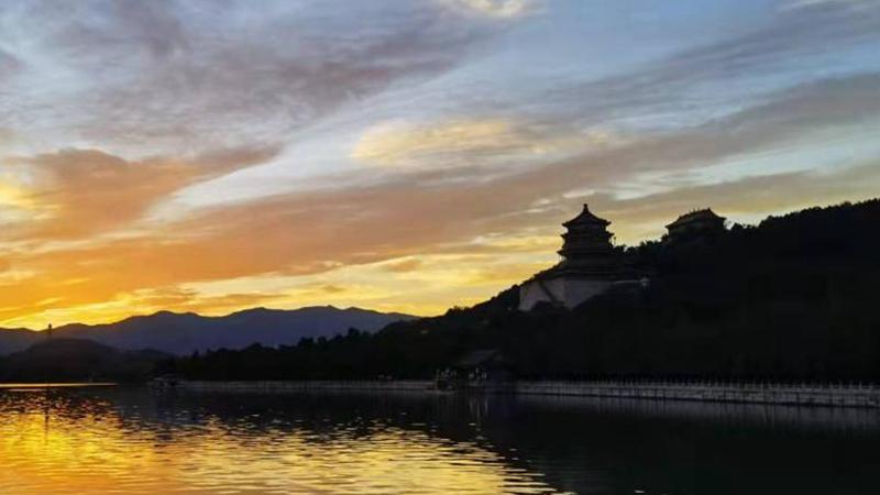 Sonnenuntergangslandschaft in Beijing